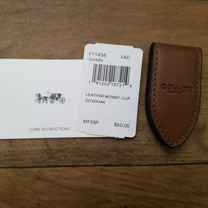 Coach Saddle Brown Leather Magnetic Money Clip NWT
